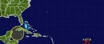 В просторах атлантического океана постепенно увеличивается шторм Катя