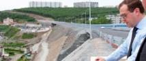 Сегодня Медведев открывал самый большой вантовый мост в мире