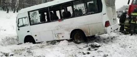В Подмосковье перевернулся пассажирский автобус.