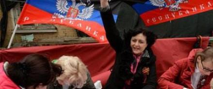 В Донецке люди голосуют за самостоятельность
