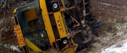 В Тульской области автобус, перевозивший школьников, съехал в кювет