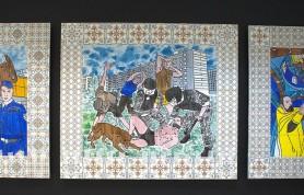 Коллаборации советского авангарда и современных медиа на картине-триптихе художника Пасмура Рачуйко «Переход»