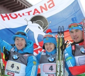 Победа России на смешанной эстафете по биатлону
