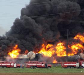 В Новосибирской области вспыхнул состав с боеприпасами