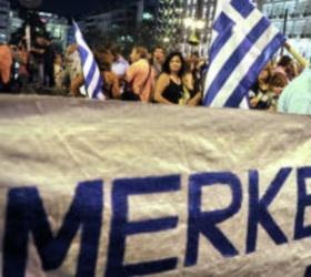 Полиция Греции разгоняла демонстрантов, выступающих против Меркель, при помощи слезоточивого газа