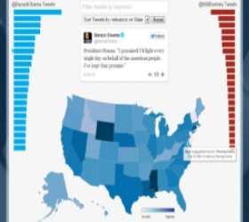 Twitter к выборам американского президента запустил карту политической активности пользователей