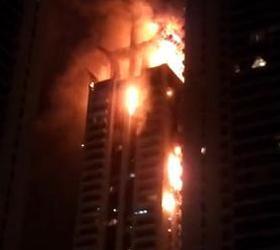 В одной из высоток Дубая произошел крупный пожар