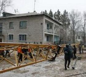 В Северной Осетии произошло падение башенного крана