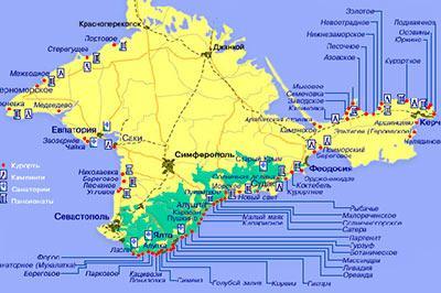 Карта пляжей крыма