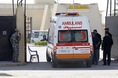 Egyptian border guards check the ambulan
