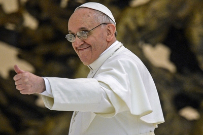 Pope Francis meets with journalists