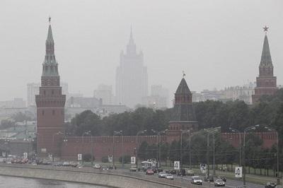 Waldbr‰nde in Russland - Dichter Smog im†Stadtzentrum von Moskau