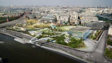 """Парк """"Зарядье"""" будет связан с Москва-рекой на трех уровнях"""