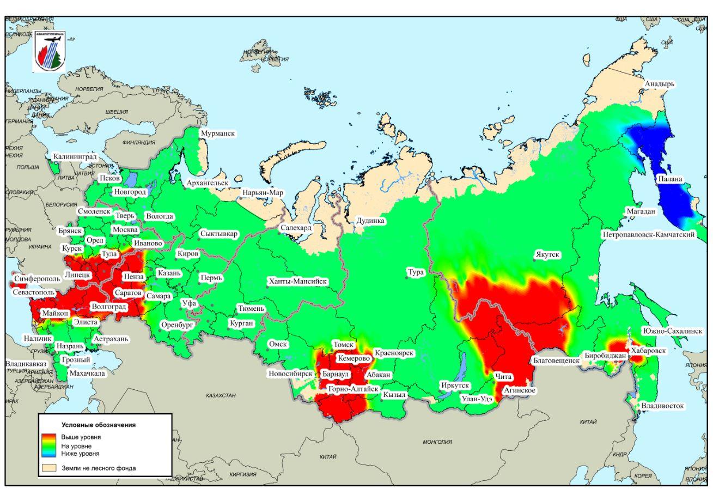 карта прогноза пожарной опасности на июнь 2018 года