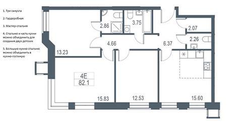 Трехкомнатная квартира с оптимальной планировкой (классика)
