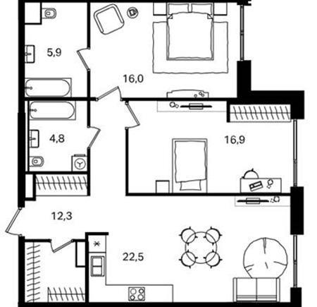 Трехкомнатная квартира с оптимальной планировкой