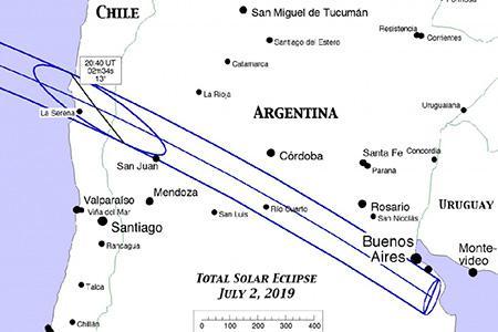 Путь полного солнечного затмения 2 июля 2019